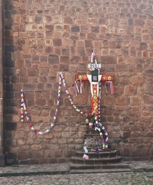 Decorated cross outside of the Cathedral