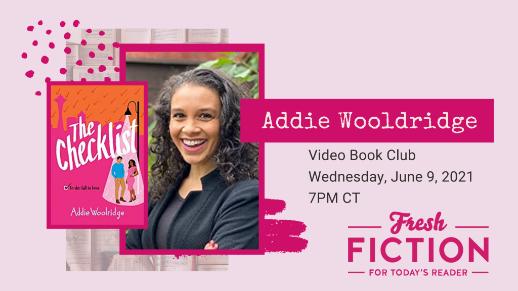 A fly for the Fresh Fiction Book Club featuring a picture of Addie Woolridge and the cover of the novel The Checklist