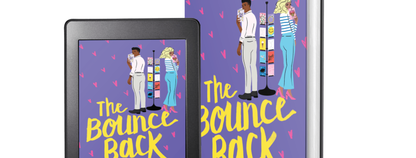 Cover of The Bounce Back. [Alt text: Picture of the cover of The Bounce Back, which is purple with pink hearts in the background. The title is in a yellow script font. A man and a woman are both holding greeting cards and looking over their shoulder and standing on either side of a card rack.